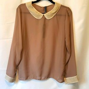 💜Poof couture sheer  long sleeve blouse #022
